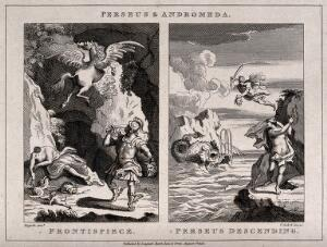 view Left, Perseus cuts off the head of Medusa; right, Perseus rescues Andromeda. Etching by T. Cook, 1808, after W. Hogarth.