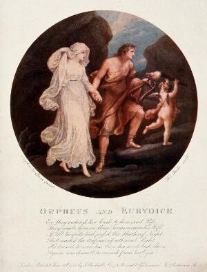 view Orpheus and Eurydice. Colour process print, ca. 1900 (?) after stipple engraving by T. Burke, 1782, after A. Kauffman.
