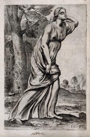view A daughter of Niobe. Etching by F. Perrier, 1638.