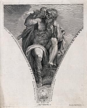 view Saturn [Kronos]. Engraving by G.H. Frezza, 1704, after P. de Petris after F. Albani.