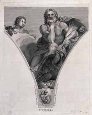 view Jupiter [Zeus]. Engraving by G.H. Frezza, 1704, after P. de Petris after F. Albani.