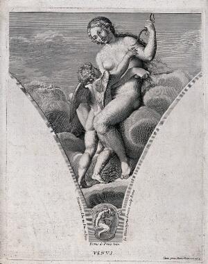view Venus [Aphrodite]. Engraving by G.H. Frezza, 1704, after P. de Petris after F. Albani.