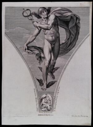 view Mercury [Hermes]. Engraving by G.H. Frezza, 1704, after P. de Petris after F. Albani.