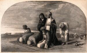 view Muslims praying to Mecca. Engraving.