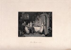 view The exorcism of a ghost. Engraving by E. Portbury after F.P. Stephanoff.
