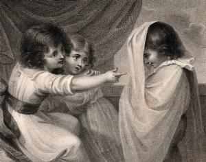 view A boy appearing to two girls as a ghost. Stipple engraving.