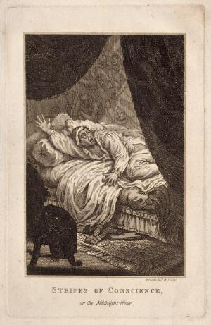 view A man disturbed from sleep by visions caused by guilt. Etching by Brocas.