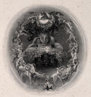 view A faun surrounded by fairies. Engraving by F. Bacon, 1840, after D. Maclise.
