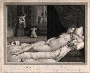 "view Venus [Aphrodite]: the ""Venus of Urbino"". Engraving by R. Strange, 1768, after R. Strange, 1761, after Titian."