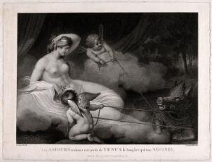 view Venus [Aphrodite]: cupids dragging before her the boar which killed Adonis. Stipple engraving by W. Holl after R. Westall.