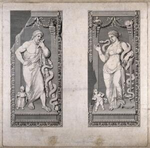 view Aesculapius and Hygieia. Engraving by R. Morghen.