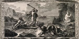view Hercules rescuing Hesione from a sea-monster. Engraving by B. Picart after C. Le Brun.