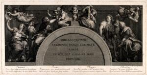 view The Cumaean, Persian, Phrygian and Tiburtine sibyls. Engraving by G. Volpato, 1772, after Raphael.