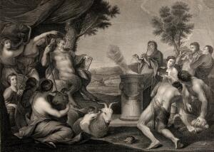 view A sacrifice to Pan. Engraving by F.G. Aliamet, 1769, after A. Sacchi.