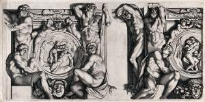 view Pan and Eros; Salmacis and Hermaphroditus making love. Etching after Annibale Carracci.