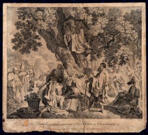 "view ""The druids; or the conversion of the Britons to Christianity"". Engraving by S.F. Ravenet, 1752, after F. Hayman."