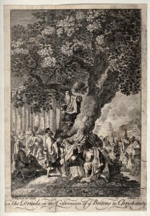 "view ""The druids; or the conversion of the Britons to Christianity"". Etching by A. Walker, 1758, after F. Hayman."