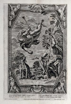view Mercury (Hermes) offering a golden apple to Paris. Etching by P. Aquila after Annibale Carracci.