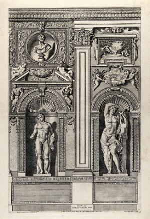 view Palazzo Farnese, Rome: a wall of the gallery. Etching by P. Aquila after Annibale Carracci.