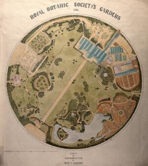 view Plan of the Royal Botanic Society's Gardens, Regents Park. Drawing after E.M. Sowerby, 1886.