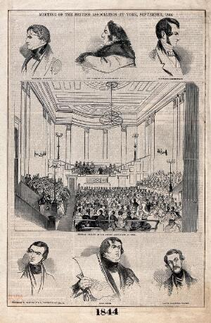 view Meeting of the British Association for the Advancement of Science at York, 1844, with vignettes of its officers. Wood engraving, 1844.