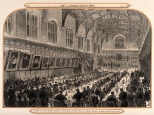 view Christ Church, Oxford: dinner of the British Medical Association. Wood engraving, 1868.