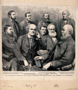 view British Association for the Advancement of Science: the president-elect and presidents of departments. Wood engraving, 1883.