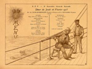 view Société Zoologique de France: the zoologist Charles Schlumberger looking at sea-creatures through a stethoscope, with Jules Richard as a sailor looking on, illustrating the menu of the society's dinner. Line block by J.T.C., 1903.