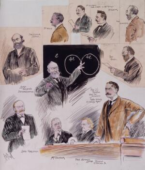 view British Association for the Advancement of Science: speakers at its meeting in Cambridge in 1904. Coloured drawing by A.S. Boyd, 1904.