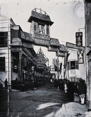 view Lyndhurst Terrace, Hong Kong. Photograph, 1981, from a negative by John Thomson, ca. 1869.
