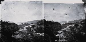 view Rocks, trees and house, Hong Kong. Photograph, 1981, from a negative by John Thomson, 1868/1871.