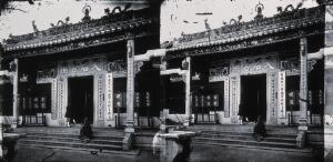 view Buddhist temple, Hong Kong. Photograph, 1981, from a negative by John Thomson, 1868/1871.