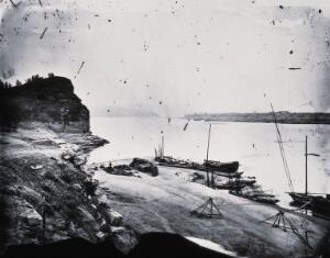 view Pearl River, Kwangtung province, China. Photograph, 1981, from a negative by John Thomson, 1870.