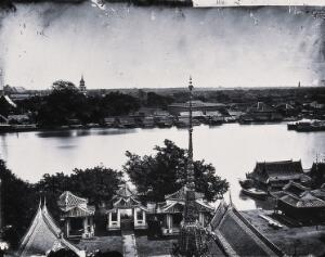 view Bangkok, Siam [Thailand]. Photograph, 1981, from a negative by John Thomson, 1865.