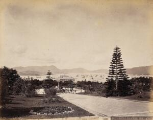view Hong Kong: Botanical Gardens, looking north to the harbour. Photograph by W.P. Floyd, ca. 1873.
