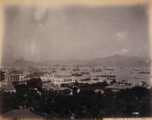 view Hong Kong: general view looking west to the harbour. Photograph by W.P. Floyd, ca. 1873.
