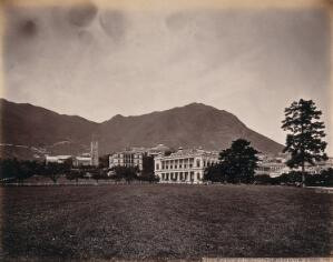 view Hong Kong: the Parade Ground, City Hall and Cathedral. Photograph by W.P. Floyd, ca. 1873.