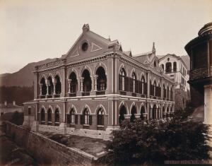view Hong Kong: the Germania Club building, Wyndham Street. Photograph by W.P. Floyd, ca. 1873.