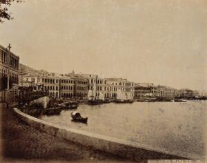 view Hong Kong: view along the harbour front. Photograph by W.P. Floyd, ca. 1873.