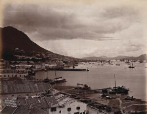 view Hong Kong: docks and harbour from the cliffs. Photograph by W.P. Floyd, ca. 1873.