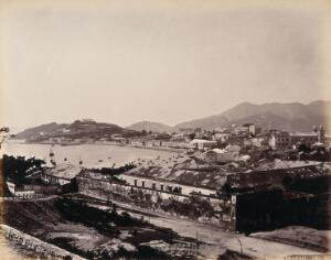 view Macao Island: Penha Hill and the bay encircled by the Praya Grande. Photograph by W.P. Floyd, ca. 1873.