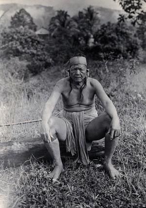 view Sarawak: Laki Bo, a native Kayan tribal chief. Photograph.