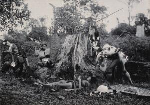 view Sarawak: five native Kenyah warriors in a warfare ritual. Photograph.