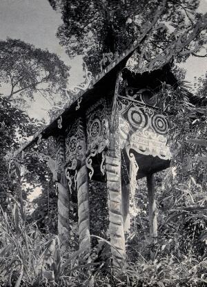 view Sarawak: a ornamented house constructed for the body of a dead tribal chief. Photograph.