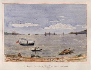 view Singapore: St. John's Island and The Sisters from the beach at Tanjong Katong. Watercolour by J. Taylor, 1879.