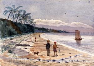 view Singapore: view along the beach by Singlap. Watercolour by J. Taylor, 1879.