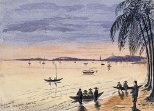 view Singapore: view towards Singapore from the beach at Tanjong Katong at sunset. Watercolour by J. Taylor, 1879.