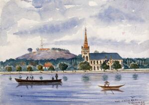 view Singapore: view across the harbour to Fort Canning and the cathedral. Watercolour by J. Taylor, 1879.