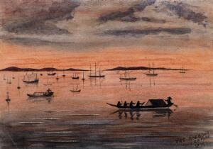 view Singapore: sunset over the harbour. Watercolour by J. Taylor, 1879.