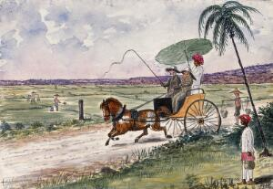 view Malaya: a pony and trap being driven down a country road. Watercolour by J. Taylor, 1879.